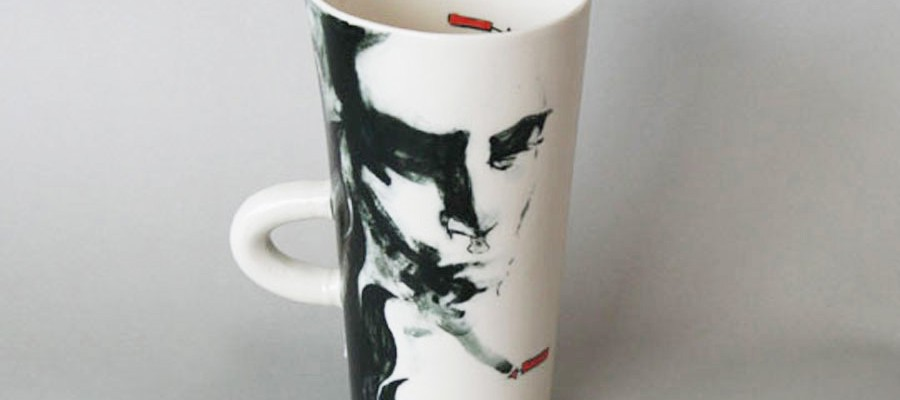 custom drawn porcelain ceramic cup