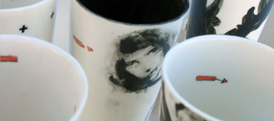 hand drawn porcelain cups