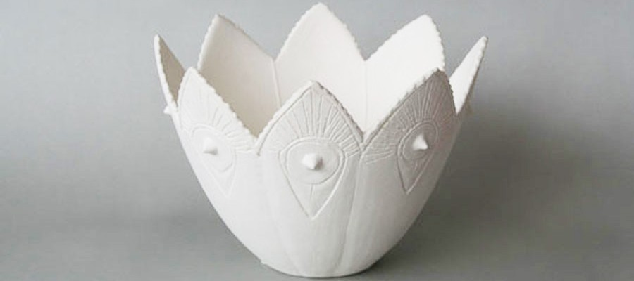 hand carved porcelain bowl